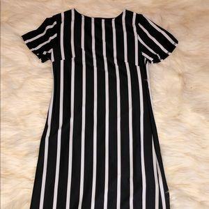ROMWE- Black and White stripper midi dress